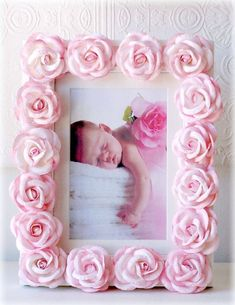 Pink Roses Picture Frame Nursery Decor - can be done with fimo Rose Nursery, Chic Nursery, Girl Nursery, Girl Room, Nursery Decor, Child's Room, Nursery Ideas, Pink Rose Pictures, Pink Picture Frames