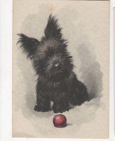 Dog Art by E Dermitzel Vintage Postcard Germany - Scottish Terrier and ball