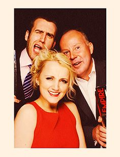 Matthew Lewis, Evanna Lynch and David Yates at the Empire Awards 2012 Photobooth