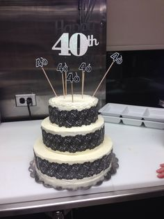 3 tier 40th birthday cake made by Freddies event room
