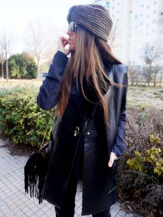 Front Low - Fashion blog: Black Leather Vest