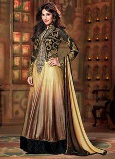 Cream And Brown Long Indo Western Embroidery Anarkali Suit http://www.angelnx.com/Salwar-Kameez/