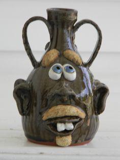 SOUTHERN FOLK ART POTTERY UGLY DOUBLE FACE JUG TOBACCO SPIT GLAZE by T HOSEY | eBay