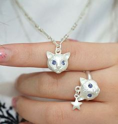 Blue Eye Kitty Necklace+Ring Set, | LilyFair Jewelry, $15.99!