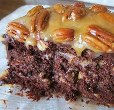 INGREDIENTS: 1 cup chocolate chips 2 cups pecans 3/4 cup melted butter 1/2 cup evaporated milk 1 (14 ounce) bags caramels 1 1/3 cups water 1/3 cup oil 3 eggs 1 (18 ounce) boxes German chocolate cake mix DIRECTIONS: Prepare cake mix as directed. Pour 1/2 of the batter in a 13×9 inch pan. Bake at 350 for 15 minutes. Remove and let cool. In a double boiler, add caramels, milk and butter and stir constantly till melted. Pour melted caramel over cooling cake. Sprinkle on top 1 cup of pecans…