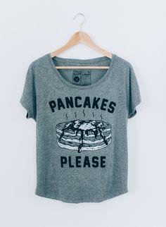 Pancakes Please Women's Slouchy Breakfast Brunch Foodie T-shirt Tee Top