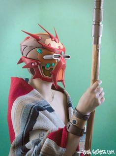 A star-wars type sci-fi native wears a tech helmet in this portrait by 3d designer and concept artist John Niehuss, 2017.