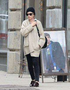 Out and about: Michelle Williams went for somewhat of an androgynous look as she stepped out on Monday