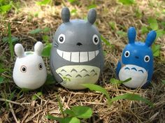 Set of 3 TOTORO DOLL Studio Ghibli mini figure model toy 3