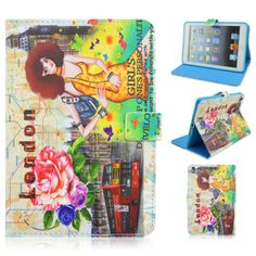 Flower Woman London Folio Stand Leather Protective Case For Apple iPad Mini1/2/3