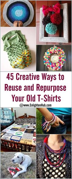 45 creative ways to reuse and repurpose your old t-shirts tee shirt crafts, Tee Shirt Crafts, T Shirt Yarn, T Shirt Diy, Shirt Bag, Fabric Crafts, Sewing Crafts, Sewing Projects, Upcycling Projects, Yarn Projects