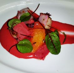 New for Restaurant Week: pan-seared scallops with beet mousse and sorrel! #nycrw