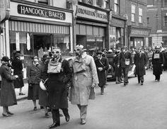 Gas mask drill, London 1941