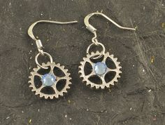 Small Silver Tone GEAR Blue Crystal Earrings Hoops by ChezChani