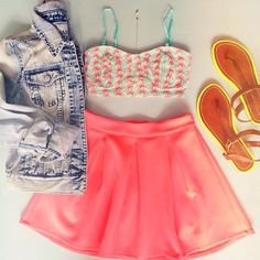 Gorgeous coral pink pleated skirt top print short blouse and denim short jacket and neon ladies shoes perfect summer outfits