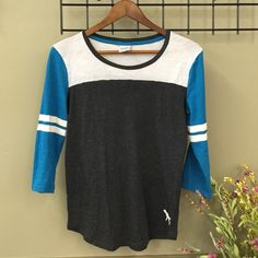 Victoria Secret PINK Baseball Tee Baseball tee with 2 white stripes on both sleeves with gray body PINK Victoria's Secret Tops Tees - Long Sleeve