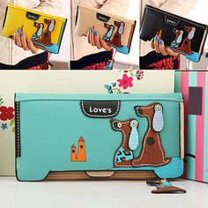 WOMEN AWESOME LONG FAUX LEATHER DOG WALLET DOUBLE ZIP HASP PURSE CARD HOLDER BAG