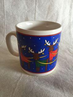 Musical Christmas Mug Silent Night Reindeer Cup In Original Box Light Sensitive  #Telco