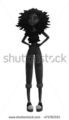 Raster Black and White Teen Fashion Illustration with a Black African or…