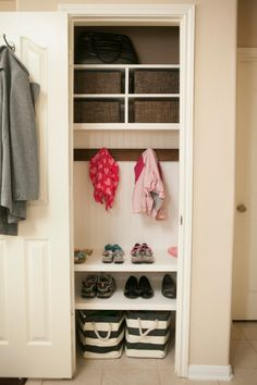 Coat Closet/Mini Mudroom   Create A Coat Closet Or Mini Mudroom With  Additional Shelving And Hooks. Also A Great Place To Store Back Packs And  The Everyday ...