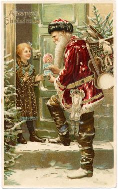 vintage father christmas cards - Google Search