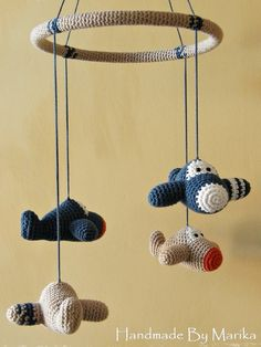 Airplane baby mobile organic cotton crochet airplane by ByMarika