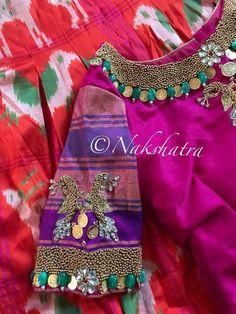 Saree Blouse Designs, Blouse Patterns, Blouse Styles, Hi Fashion, Fashion Design, Maggam Work Designs, Kids Lehenga, Work Blouse, Embroidered Blouse