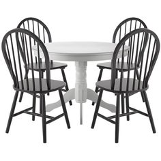 Kentucky White Dining Table With 4 Black Chairs ($285) ❤ liked on Polyvore featuring home, furniture, tables, dining tables, white kitchen table, wooden dining table, pedestal dining table, wood dining table and pedestal table