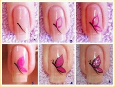 These days, butterfly nail art designs are very popular. So all girls have a look at latest butterfly nail art designs step by step at home. Nail Art Diy, Easy Nail Art, Cool Nail Art, Diy Nails, Cute Nails, Pretty Nails, Diy Art, How To Nail Art, Nail Art Papillon