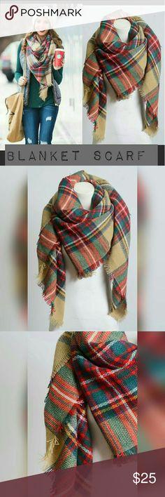 "Khaki blanket scarf Large khaki blanket scarf with frayed edges   Size: 60"" X 55""   Fabric: 100% acrylic Accessories Scarves & Wraps"