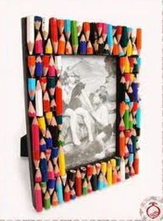 Surroundings Bariri: Ideas to customize picture frames …, … - Diy & Craft Days Kids Crafts, Diy Home Crafts, Craft Projects, Arts And Crafts, Paper Crafts, Frame Crafts, Diy Frame, Marco Diy, Cadre Photo Diy