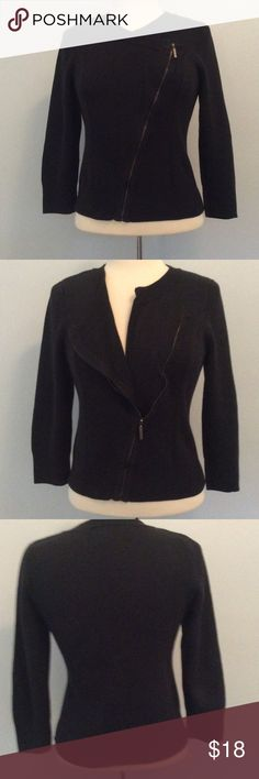 """Black sparkly cropped sweater jacket from INC INC from Macy's. Black sparkly sweater jacket with asymmetrical zipper. Cropped with 3/4 sleeve. In good condition-minor pilling in a few places. 75% cotton, 16% polyester, 9% metallic. Size medium. Has stretch. Bust is approximately 18""""  length is approximately 21"""". INC International Concepts Jackets & Coats"""