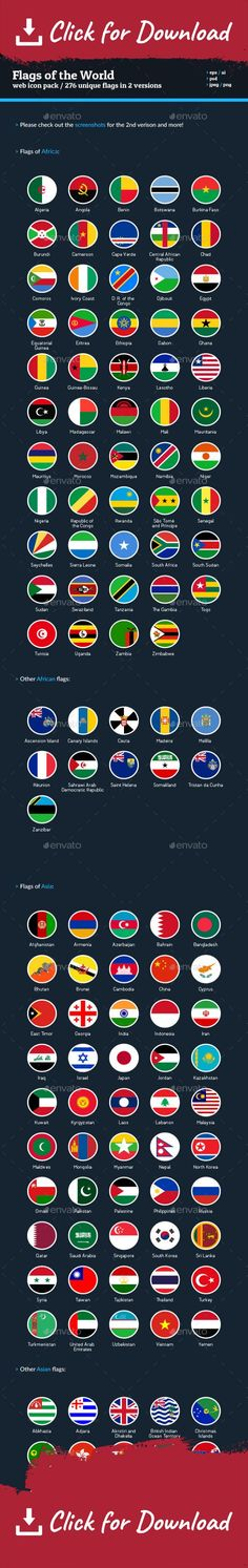 africa, african, america, asia, asian, button, countries, europe, european, flag icon, flags, flags icons, flat, flat flags, flat ui, global, icons, maps, nation, national, nations, north, oceania, round, rounded, south, sphere, vector, web, web elements    All the Fags of the World in vector, flat & rounded icons. The very same icon flags used by EnvatoMarket for their users badges!  This icon pack consist of 276 flags from the World. They are provided in two versions, which you can ch...