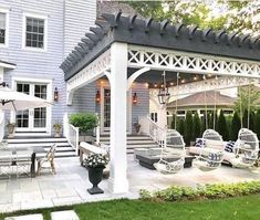 Pergola, once popular in Italian Renaissance, are an admirable let-up from heat during burning summer. To talk about the construction, pergola is not as complicated as it sounds. Backyard Patio Designs, Pergola Patio, Backyard Landscaping, White Pergola, Patio Ideas, Pergola Designs, Pergola Plans, Costco Pergola, Outdoor Ideas