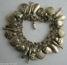 Vintage Seashells & Fish Hollow Copper Charm Bracelet