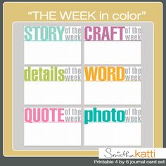 The week in color journaling card freebie set for project life