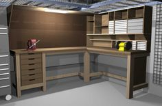 Astonishing Garage Workbench Design for Organized Garage Space: Neat Industrial Style Car Garage With Wooden L Shape Workbench Combined With...