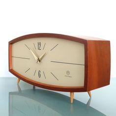 WEIMAR UHREN Mantel Clock ICONIC! RARE 1950s GERMAN LARGE Vintage Mid Century