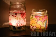 Super simple lanterns, that are great to get the kids involved with - a fabulous way to upcycle and have pretty light. Cut out hearts to make special Valentine's shadows (click through to see the photo!).