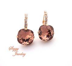 Blush Rose Swarovski Crystal Earrings 12mm Cushion by SiggyJewelry