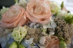 Peach, Blue, Soft Green, and Cream Wedding Flowers - LSD Photography - The French Bouquet
