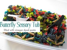 Butterfly Sensory Tub--directions for dyeing pasta to use for crafts and more--need to make a new sensory bin!!