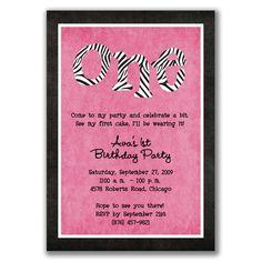 Zebra 1st Birthday Invitations