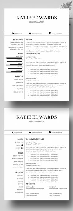 Resume Template for Word with Cover Letter, Instant Download - job reference page template