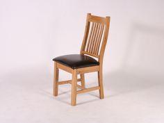Balmoral Solid Oak Chair, Brown Seat
