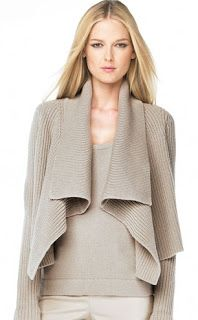 Fashion For Linda: MICHAEL KORS Drape-Front Cardigan and Chunky Hand-knit Sweater