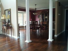 Love my new solid Hardwood Floor in Dining Room with Columns - Bella Cera Diamanti Hickory Arezzo