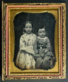 American quarter-plate daguerreotype of two young children, ca 1850