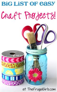 Easy Crafts!  HUGE List of Easy Craft Projects for Kids and Adults!  Get inspired with loads of fun Homemade Gift Ideas and the Best Crafts to Sell! | TheFrugalGirls.com
