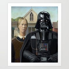 "Take Grant Wood's most famous painting, ""American Gothic"". Just a farmer posing with wife, while holding a pitchfork. Replace Darth Vader with this man and you get a perfect pop mashup. Does it make any sense? Not at all. Does it strike something in you? It does. Then, here is another entry of the serie ""Darth Vader Everywhere""."